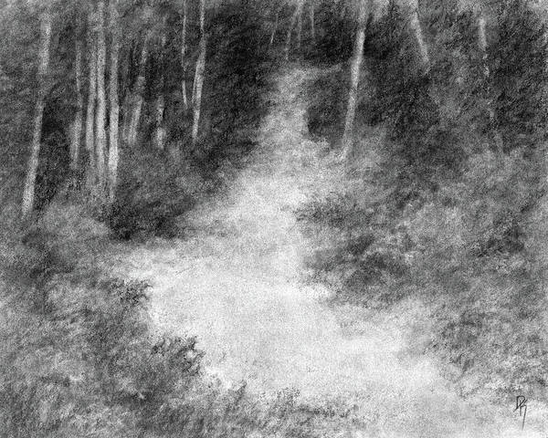 Hiking Drawing - Up Into The Woods by David King
