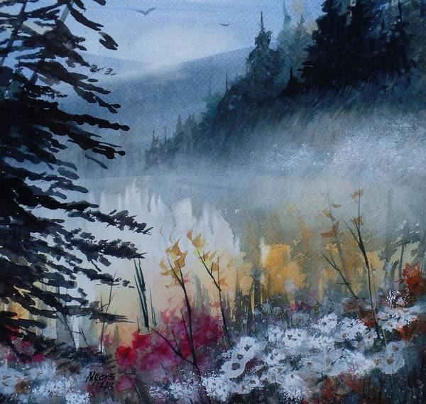 Up North Painting - Up North, Watercolor Painting by David K Myers