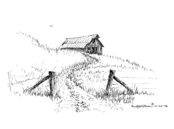 Barn Drawing - Up The Hill To The Old Barn by Randy Welborn