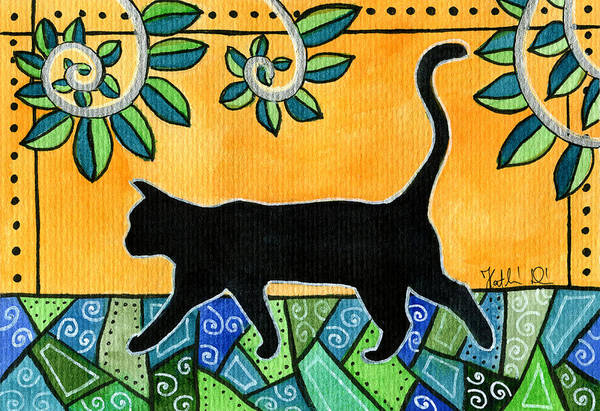 Painting - Up To Something - Black Cat Card by Dora Hathazi Mendes