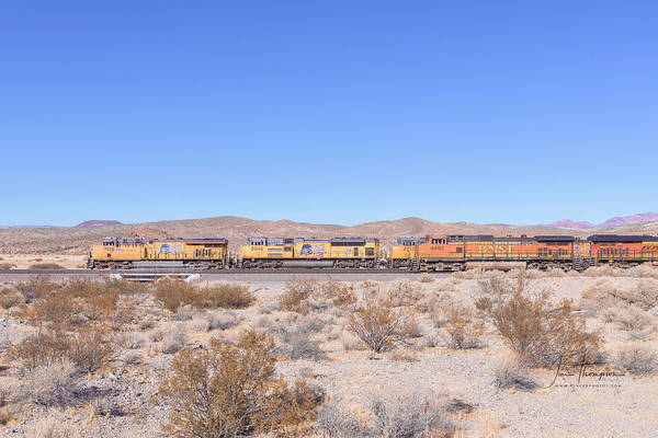 Photograph - Up7958 And Bnsf4493 by Jim Thompson