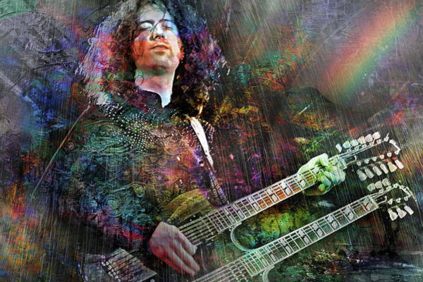 Rock Music Jimmy Page Wall Art - Digital Art - Upon Us All A Little Rain Must Fall by Mal Bray