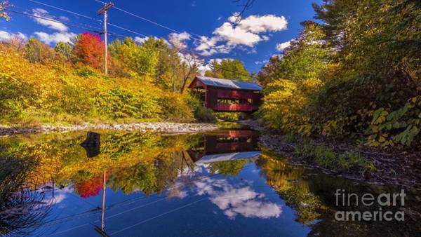 Photograph - Upper Cox Brook Covered Bridge by New England Photography