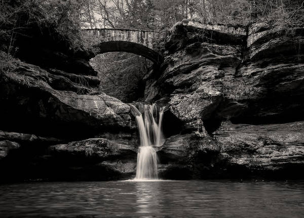 Photograph - Upper Falls Hocking Hills Black And White by Dan Sproul