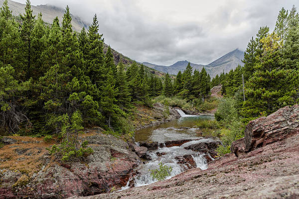 Photograph - Upper Redrock Falls - Glacier Np by Belinda Greb