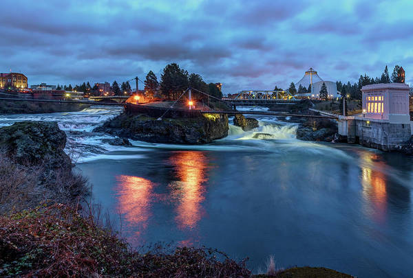 Upper Spokane Falls At Dusk Art Print