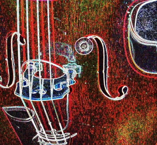 Digital Art - Upright Bass Close Up by Anita Burgermeister