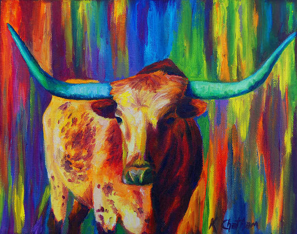 Wall Art - Painting - Uptown Longhorn by Karen Kennedy Chatham