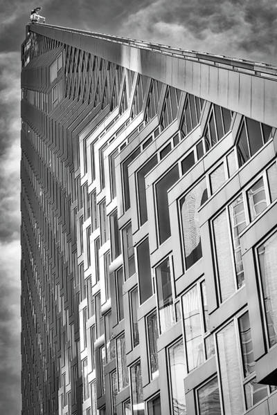 Photograph - Upward View To West 57 St Nyc Bw by Susan Candelario
