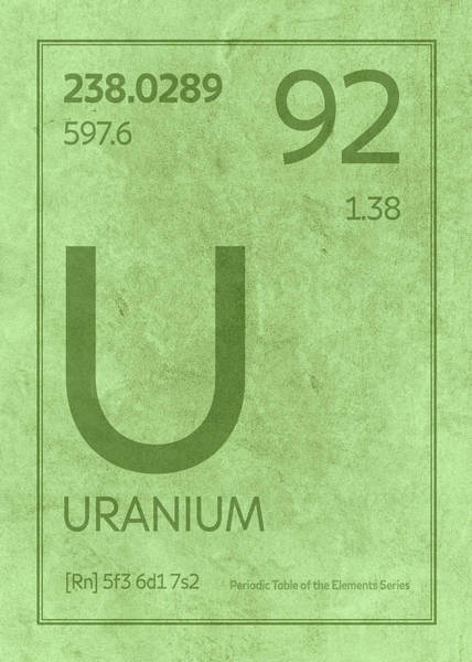 Atomic Number Wall Art - Mixed Media - Uranium Element Symbol Periodic Table Series 092 by Design Turnpike