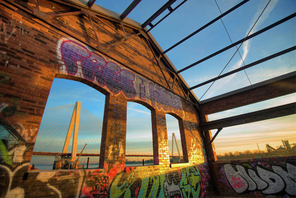 Photograph - Urban Graffiti Landscape - Stan Musial Veterans Memorial Bridge - St. Louis Missouri by Gregory Ballos