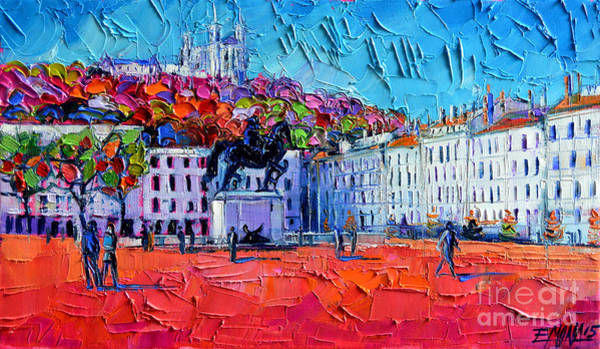 Wall Art - Painting - Urban Impression - Bellecour Square In Lyon France by Mona Edulesco