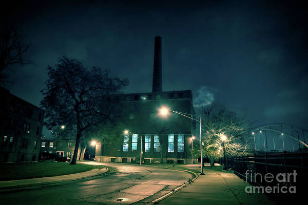 Wall Art - Photograph - Chicago Urban Industrial Night Scenery by Bruno Passigatti