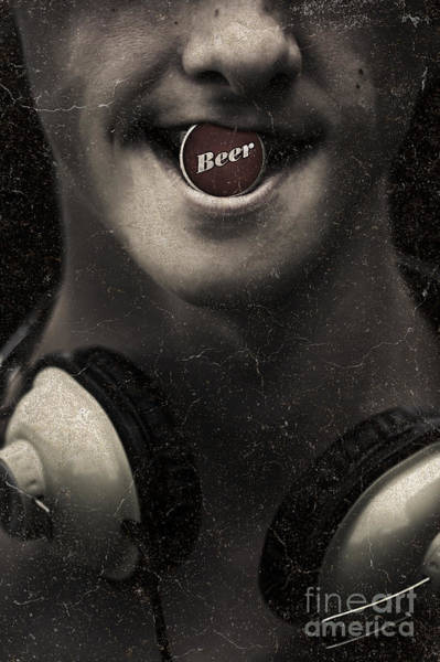 Photograph - Urban Man Wearing Headphones And Beer Cap In Mouth by Jorgo Photography - Wall Art Gallery