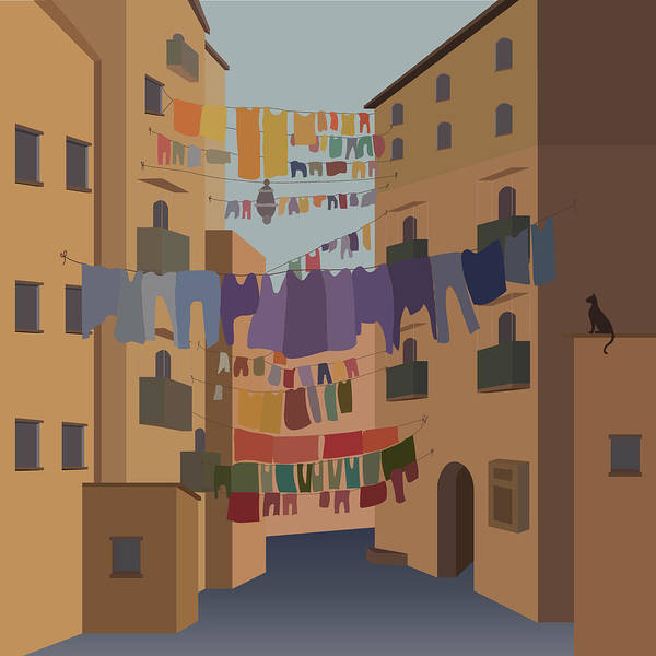 Town Square Mixed Media - Urban Old Courtyard by Lesya Shevchishina