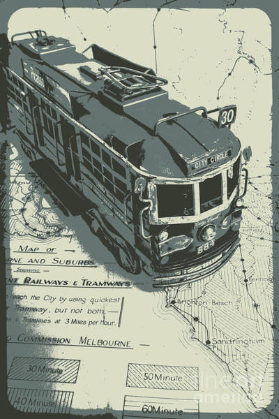 Vehicles Photograph - Urban Trams And Old Maps by Jorgo Photography - Wall Art Gallery