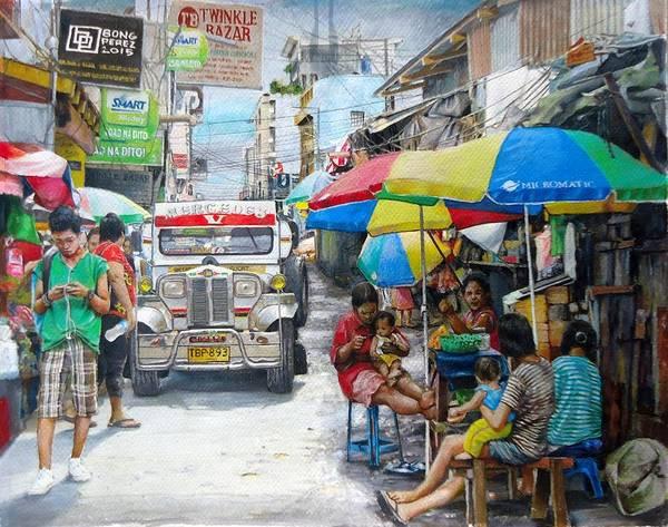 Filipino Drawing - Urban Walk by Bong Perez