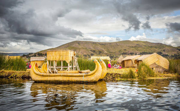 Puno Photograph - Uros Boat by Gary Gillette