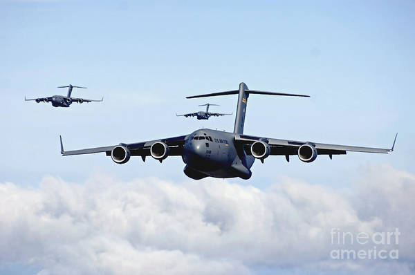 Freight Wall Art - Photograph - U.s. Air Force C-17 Globemasters by Stocktrek Images