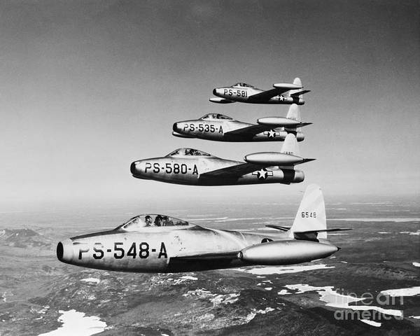 Photograph - Us Air Force F-84 Thunderjet Fighters by H. Armstrong Roberts/ClassicStock