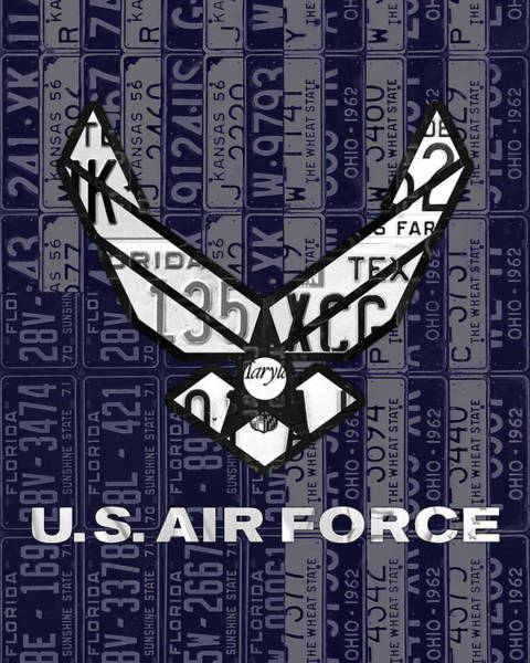Logo Mixed Media - Us Air Force Logo Recycled Vintage License Plate Art by Design Turnpike