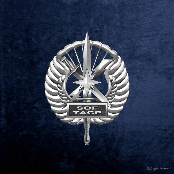 Digital Art - U.s. Air Force Tactical Air Control Party - Special Tactics Tacp Crest Over Blue Velvet by Serge Averbukh