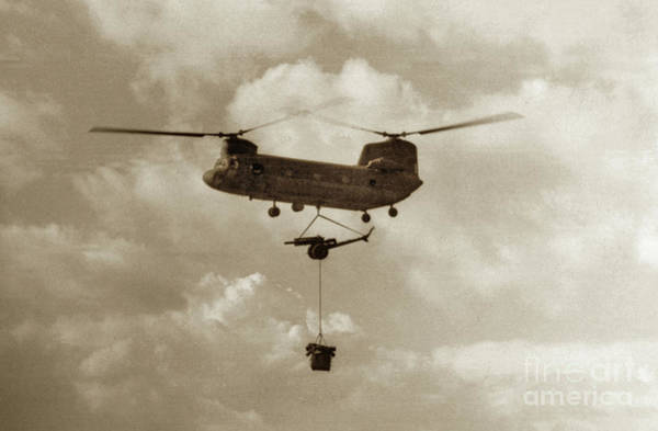 Photograph - U.s. Army Boeing Ch-47 Chinook Aka Hook  Brings In An 105mm  Artillery 1968 Rvn by California Views Archives Mr Pat Hathaway Archives