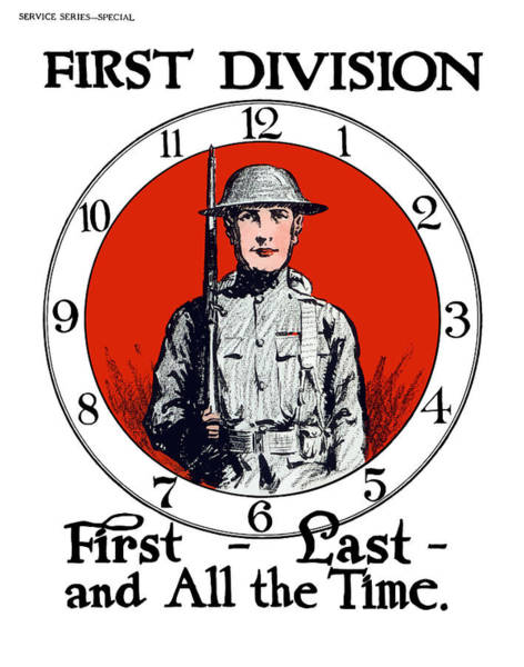 Wwi Wall Art - Painting - Us Army First Division - Ww1 by War Is Hell Store