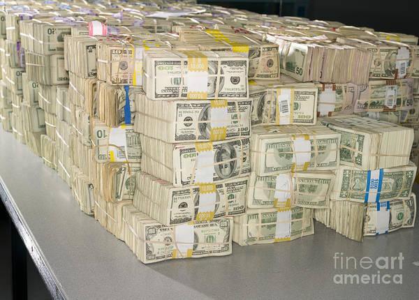 Wall Art - Photograph - Us Bills In Bundles by Adam Crowley