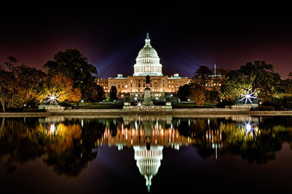 Photograph - Us Capitol Building And Reflecting Pool At Fall Night 1 by Val Black Russian Tourchin