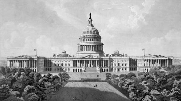 Capitol Drawing - Us Capitol Building by War Is Hell Store