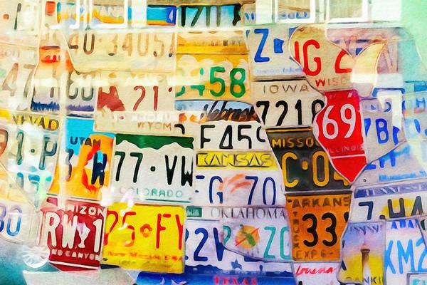 Painting - U S Car Plates by Lutz Baar