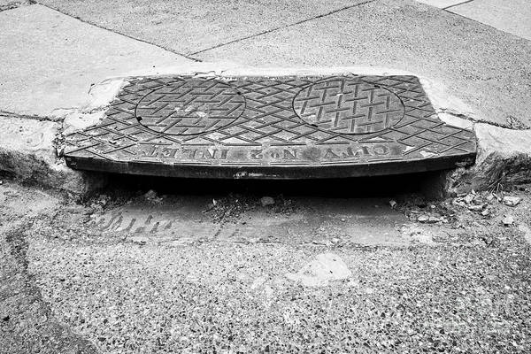 Storm Drain Photograph - us city street corner kerb storm drain Philadelphia USA by Joe Fox