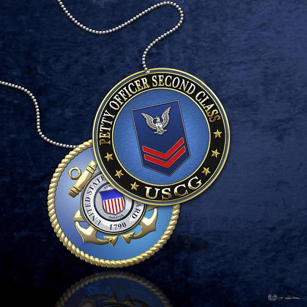 Digital Art - U.s. Coast Guard Petty Officer Second Class - Uscg Po2 Rank Insignia Over Blue Velvet by Serge Averbukh