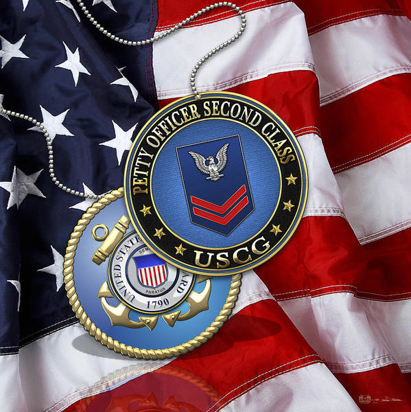 Digital Art - U. S. Coast Guard Petty Officer Second Class - Uscg Po2 Rank Insignia Over Us Flag by Serge Averbukh