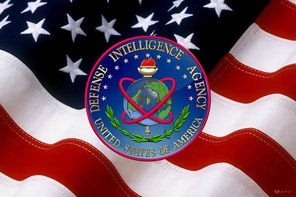 U. S. Defense Intelligence Agency - D I A Emblem Over Flag Art Print