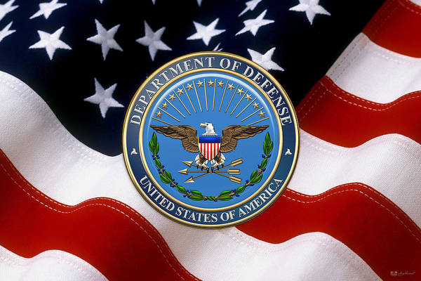 Dod Wall Art - Digital Art - U. S. Department Of Defense - D O D Emblem Over American Flag by Serge Averbukh