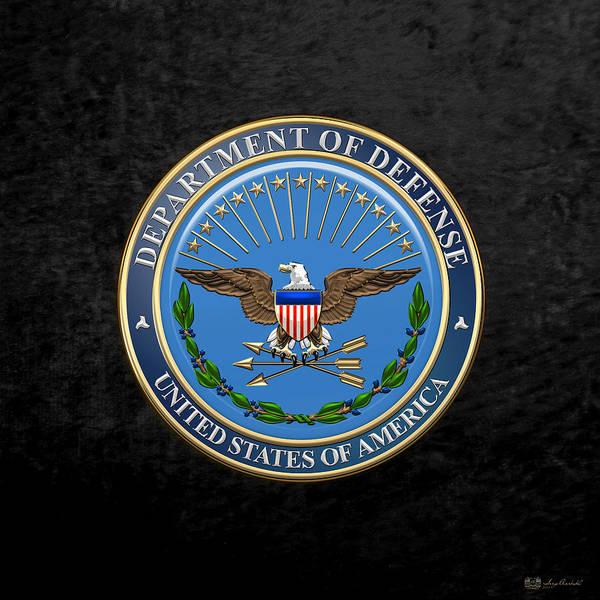 Dod Digital Art - U. S. Department Of Defense - D O D Emblem Over Black Velvet by Serge Averbukh