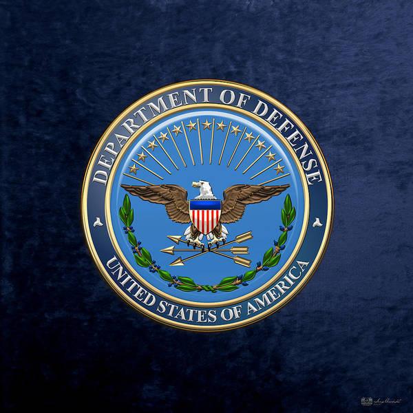 Dod Digital Art - U. S. Department Of Defense - D O D Emblem Over Blue Velvet by Serge Averbukh