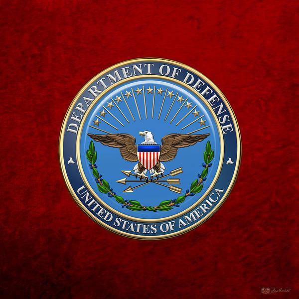 Dod Digital Art - U. S. Department Of Defense - D O D Emblem Over Red Velvet by Serge Averbukh