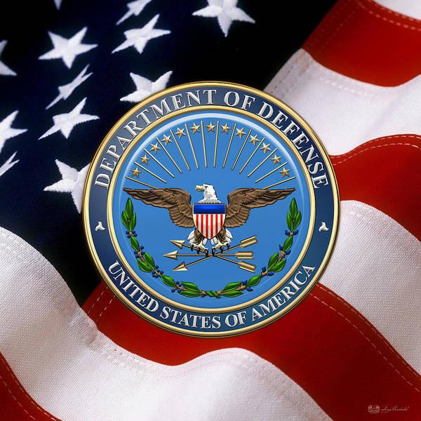 Dod Digital Art - U. S. Department Of Defense - D O D Emblem Over U. S. Flag by Serge Averbukh