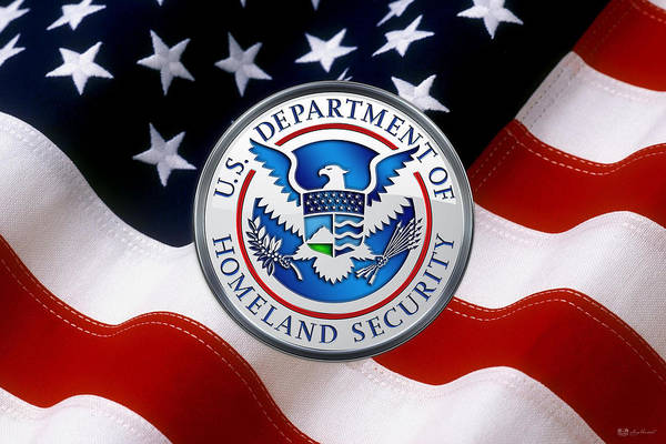 Digital Art -  U. S. Department Of Homeland Security - D H S Emblem Over American Flag by Serge Averbukh