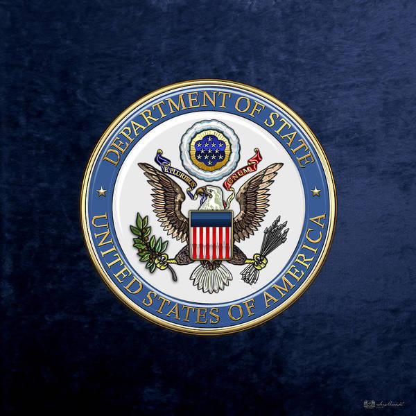 Digital Art - U. S. Department Of State - D O S Emblem Over Blue Velvet by Serge Averbukh