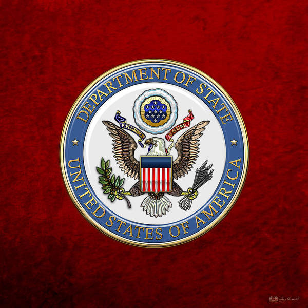 Digital Art - U. S. Department Of State - Dos Emblem Over Red Velvet by Serge Averbukh