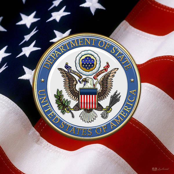 Digital Art - U. S. Department Of State - Dos Emblem Over U.s. Flag by Serge Averbukh
