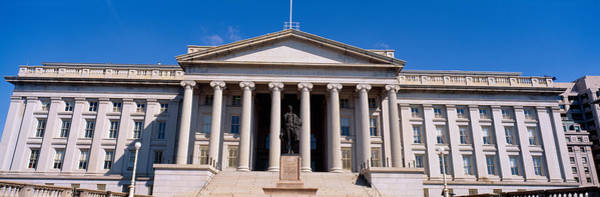 Greek Revival Architecture Photograph - U.s. Department Of Treasury With Statue by Panoramic Images