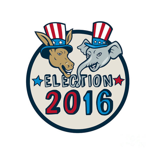 Election Wall Art - Digital Art - Us Election 2016 Mascot Donkey Elephant Circle Cartoon by Aloysius Patrimonio