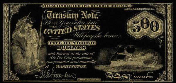 Digital Art - U.s. Five Hundred Dollar Bill - 1864 $500 Usd Treasury Note In Gold On Black by Serge Averbukh