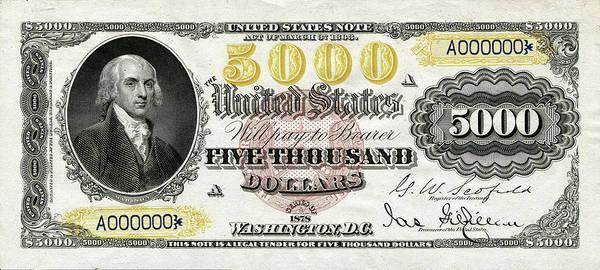 Digital Art - U.s. Five Thousand Dollar Bill - 1878 $5000 Usd Treasury Note  by Serge Averbukh