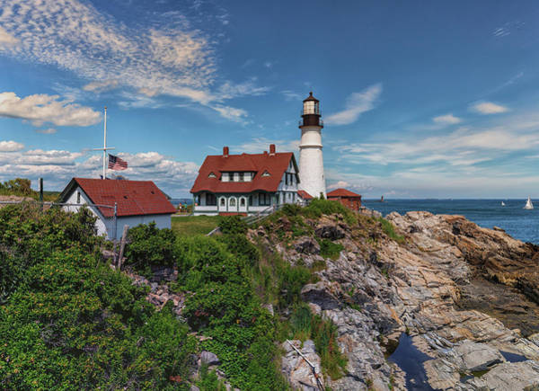 Photograph - Us Flag At Half Staff At Portland Head Lighthouse by Brian MacLean